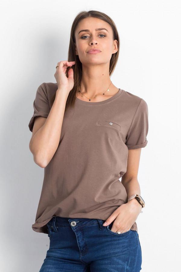 Kawowy t-shirt O-Neck Kasom