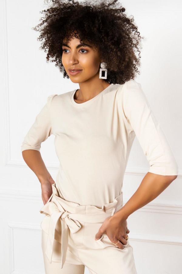 Jasnobeżowa bluzka z bufkami O-Neck Samara