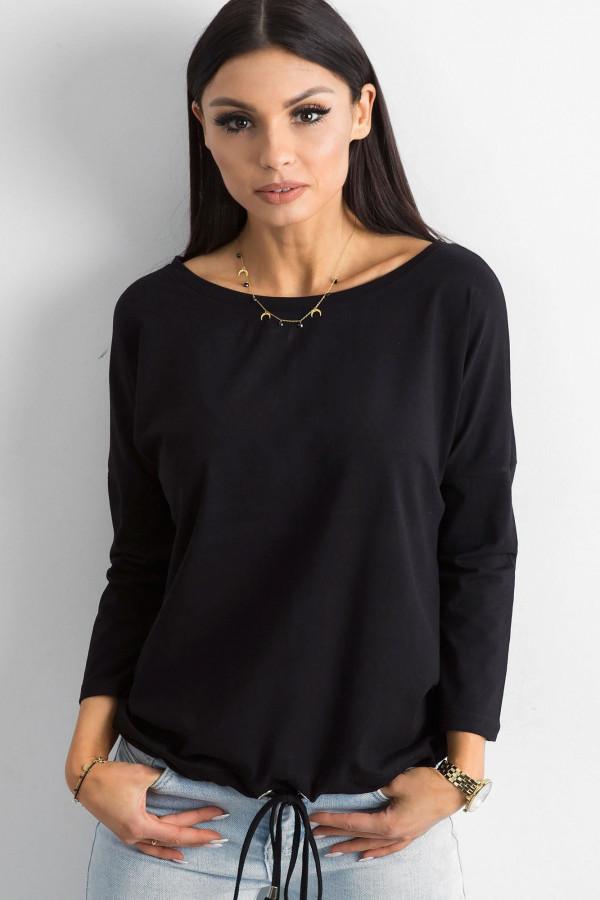 Czarna bluzka ze ściągaczem Taurus