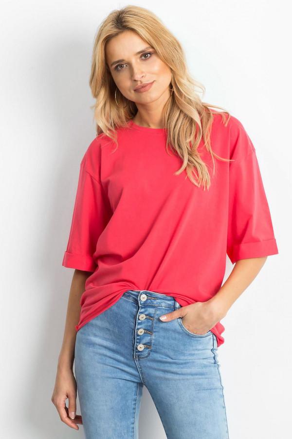 Koralowy oversizeowy t-shirt Gimmie