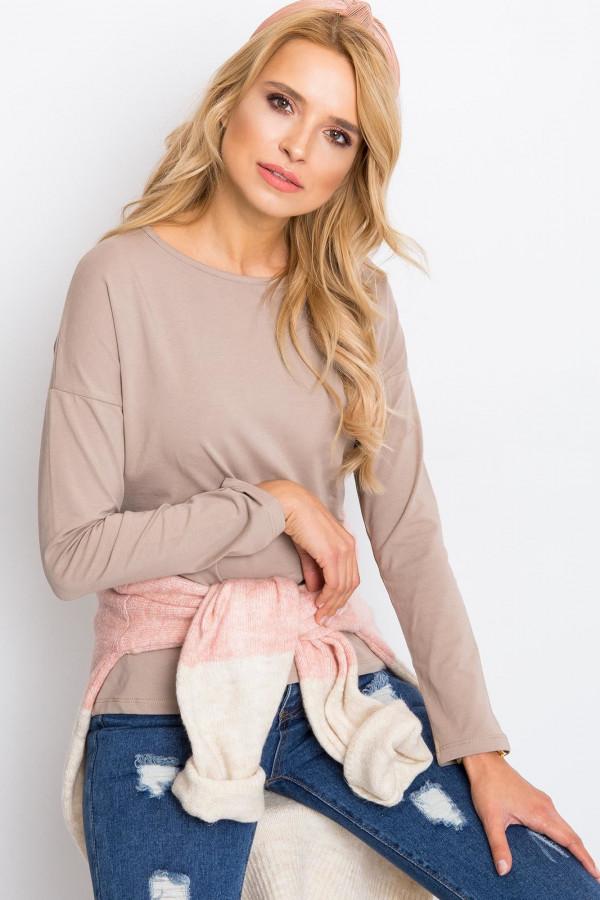 Ciemnobeżowa bluzka z długim rękawem Says
