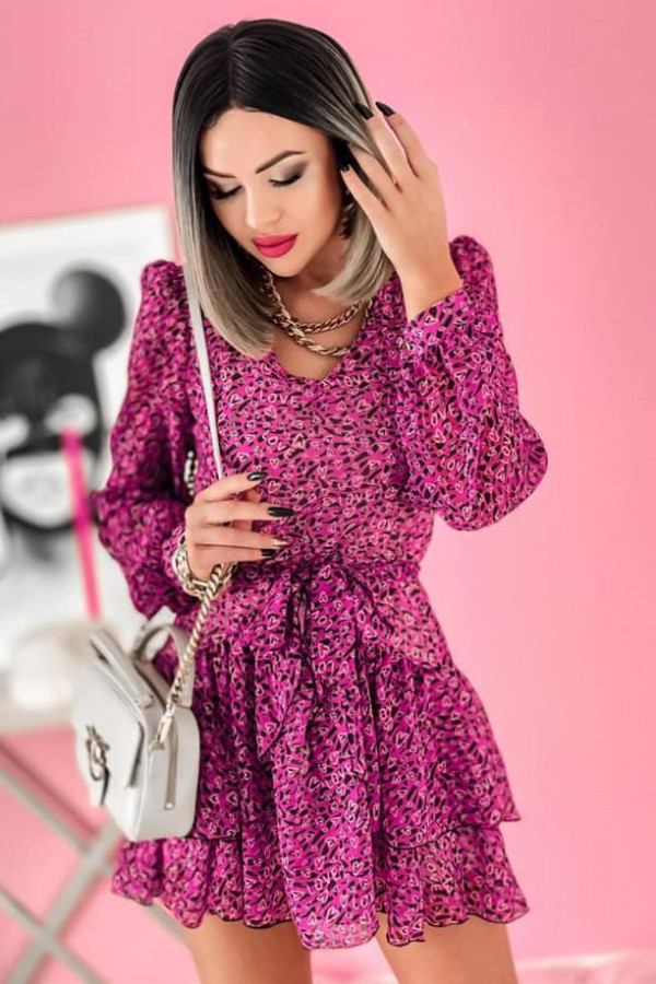 Fuksjowa sukienka szyfonowa rozkloszowana Virgo