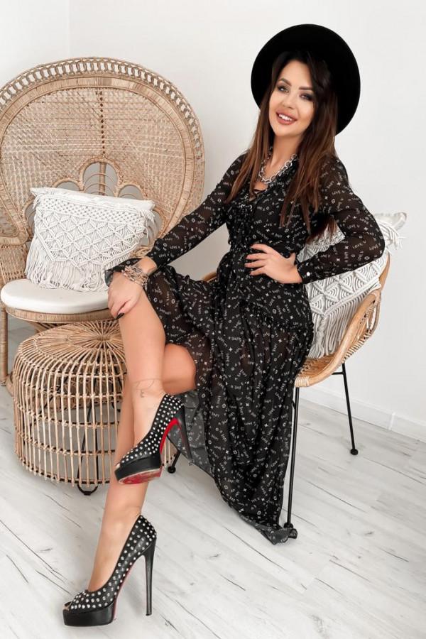 Czarna sukienka szyfonowa maxi Scorpio