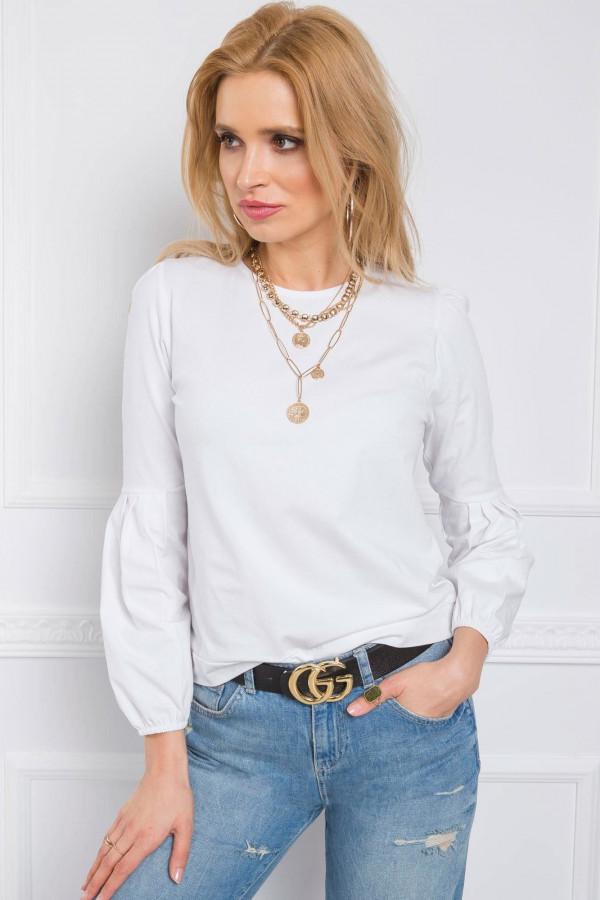 Biała bluzka z bufiastym rękawem Faith