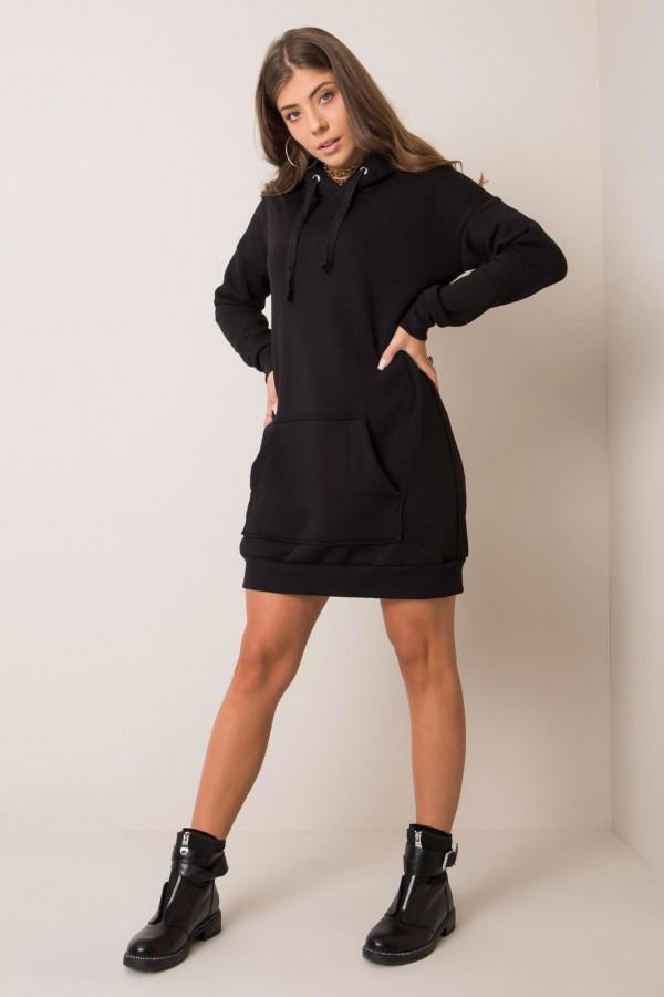 Czarna sukienka bluza kangur Detroit
