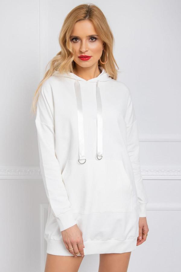 Ecru sukienka bluza z kapturem Lanes