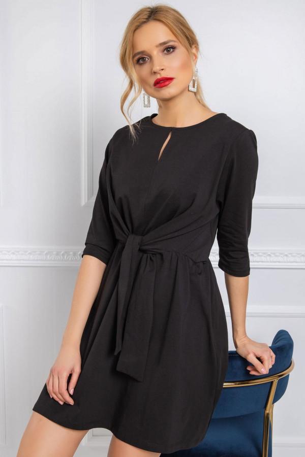 Czarna sukienka koszulowa z wiązaniem Houston