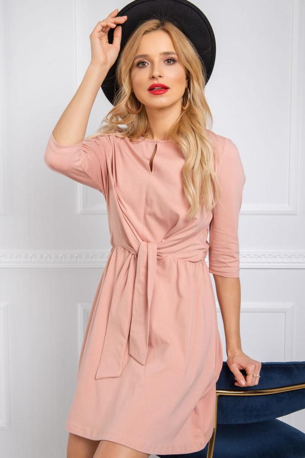 Różowa sukienka koszulowa z wiązaniem Houston