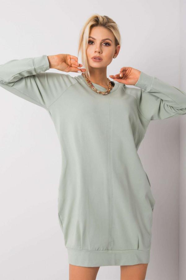 Pistacjowa sukienka bluza z kieszeniami Glove