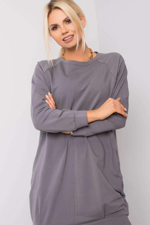 Ciemnoszara sukienka bluza z kieszeniami Glove