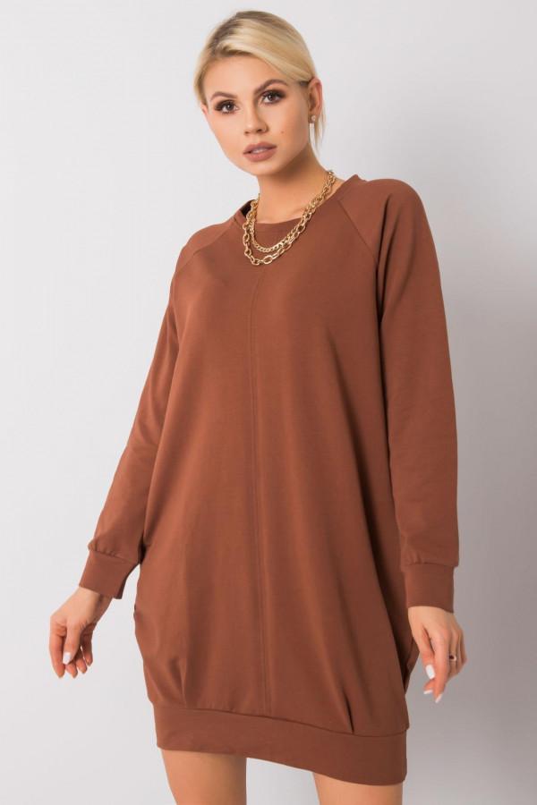 Brązowa sukienka bluza z kieszeniami Glove