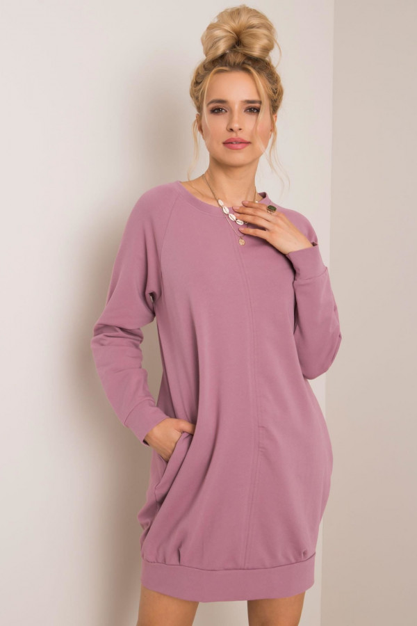 Brudnoróżowa sukienka bluza z kieszeniami Glove