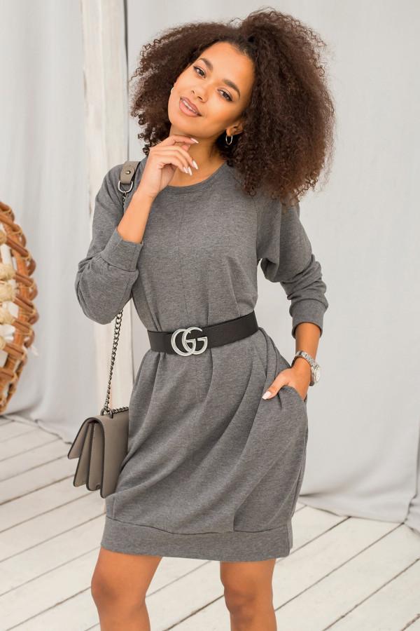 Ciemnoszara melanżowa sukienka bluza z kieszeniami Glove