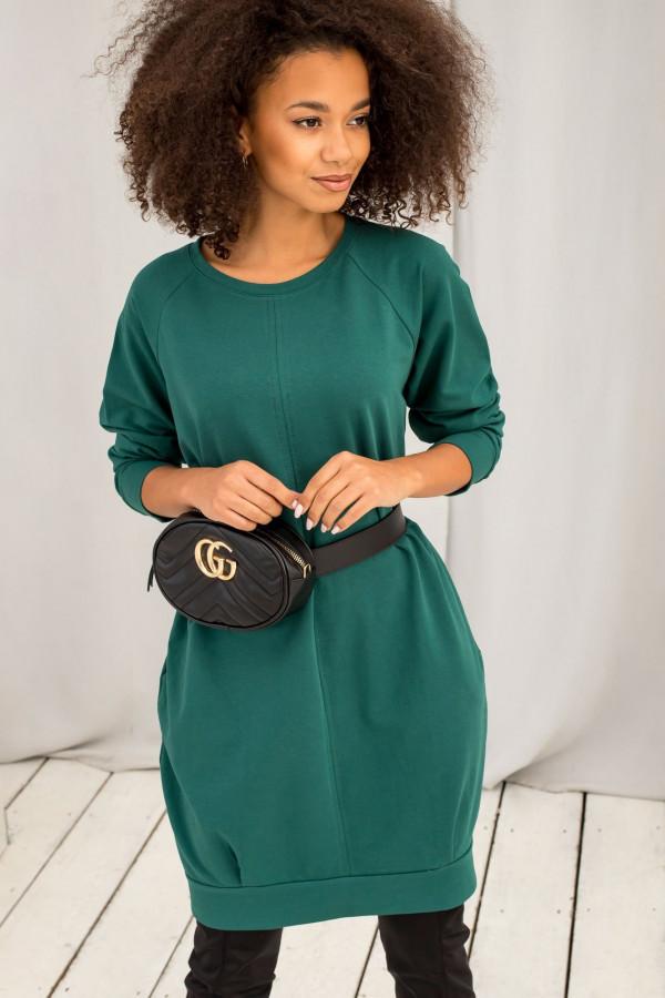 Ciemnozielona sukienka bluza z kieszeniami Glove