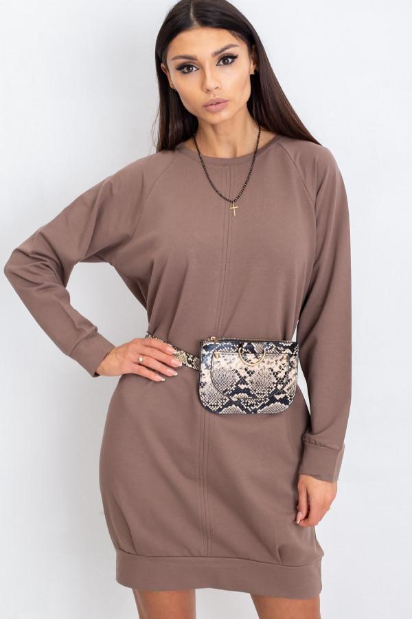 Kawowa sukienka bluza z kieszeniami Glove