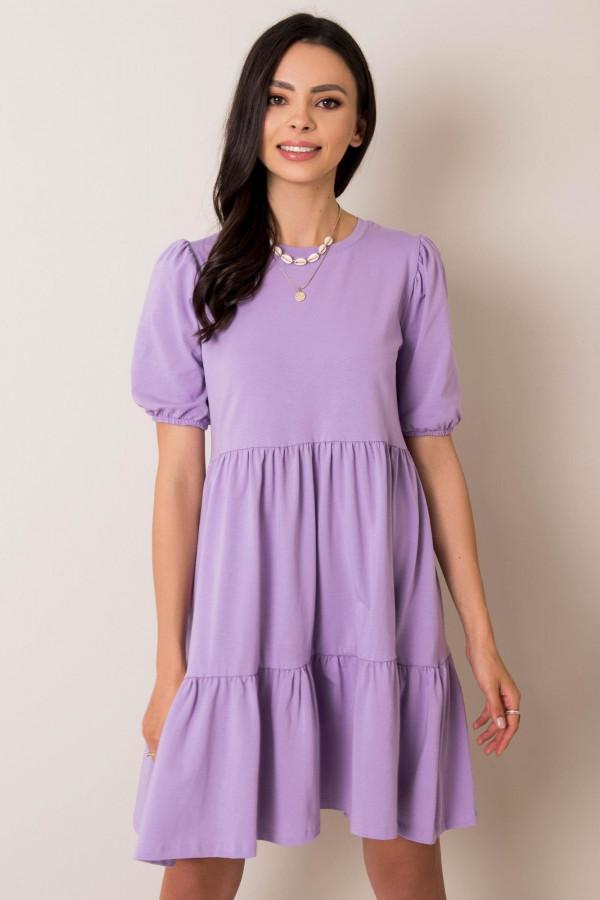 Fioletowa sukienka rozkloszowana z falbankami Angeles