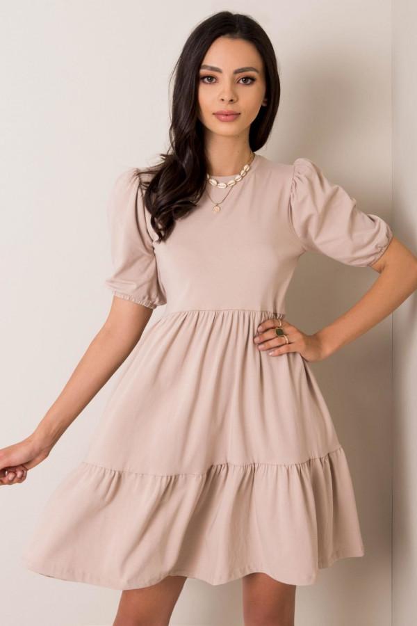 Beżowa sukienka rozkloszowana z falbankami Angeles