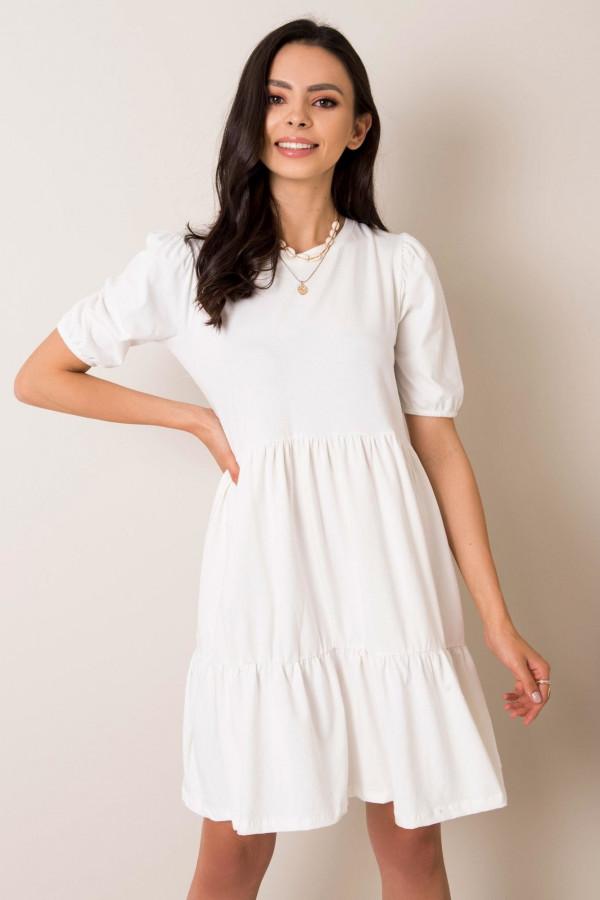 Biała sukienka rozkloszowana z falbankami Angeles