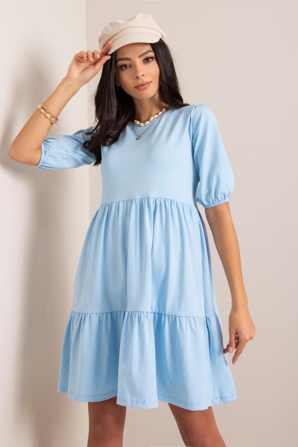 Jasnoniebieska sukienka rozkloszowana z falbankami Angeles
