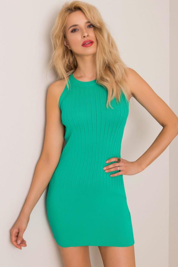 Turkusowa sukienka dopasowana mini Atena