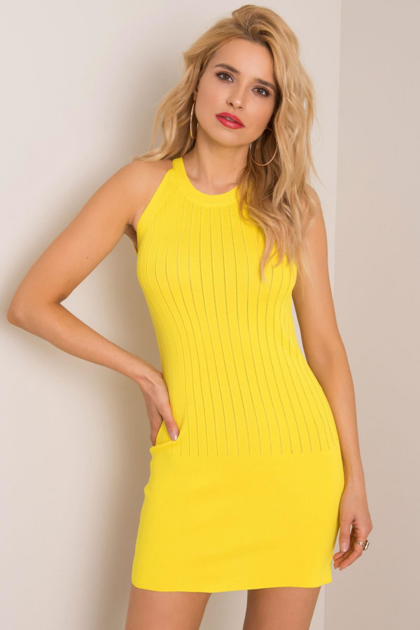 Żółta sukienka dopasowana mini Atena