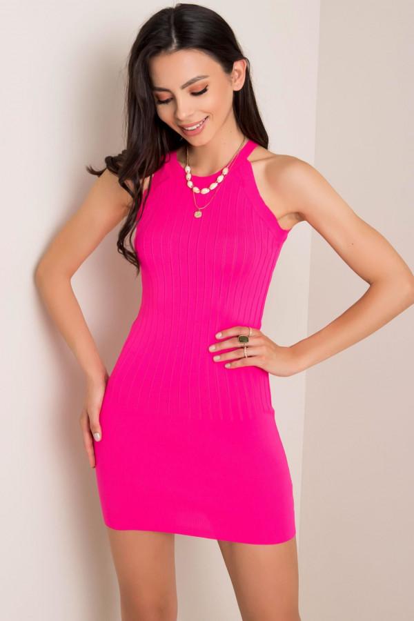 Neonowo różowa sukienka dopasowana mini Atena
