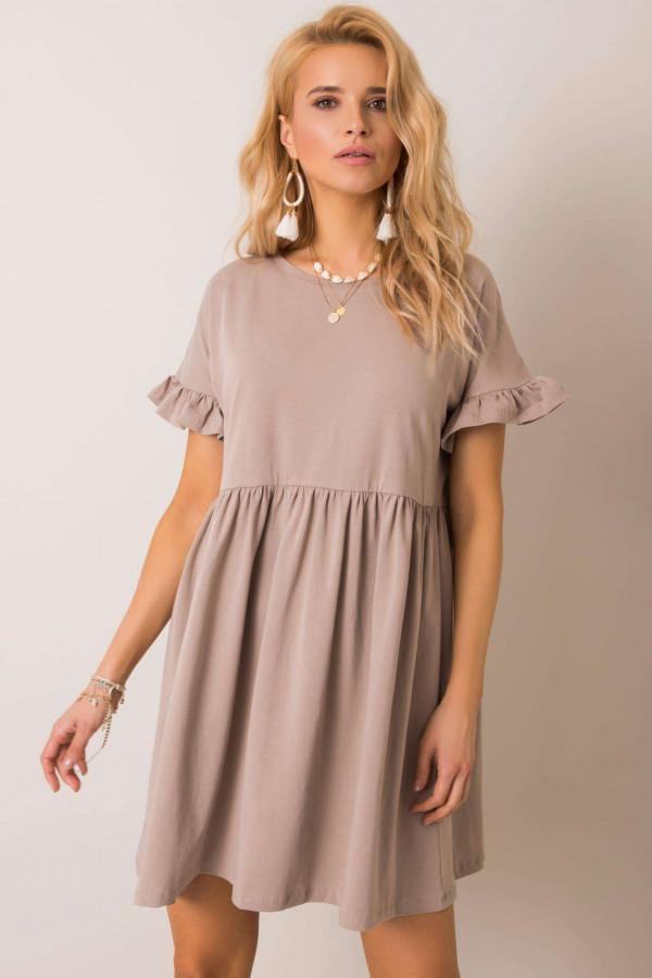 Ciemnobeżowa sukienka rozkloszowana z falbankami Fresno