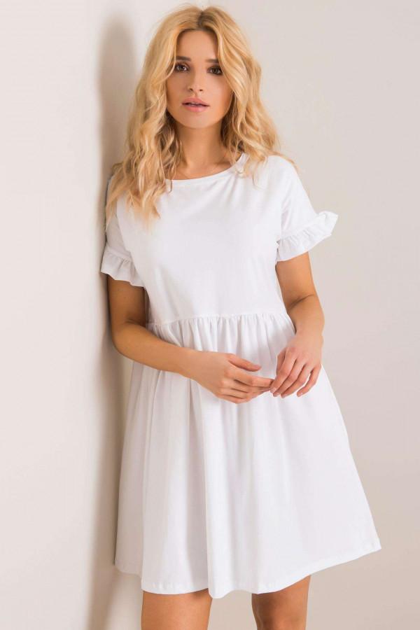 Biała sukienka rozkloszowana z falbankami Fresno