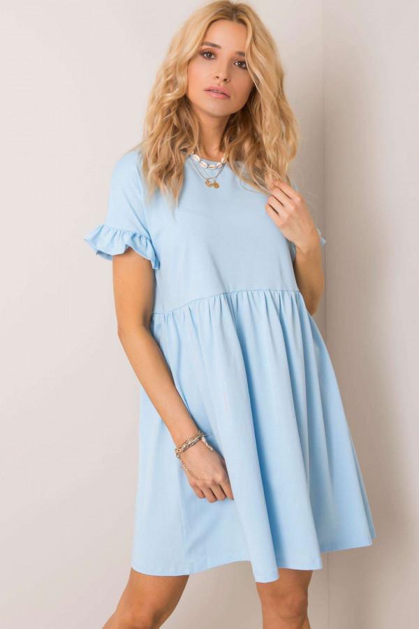 Jasnoniebieska sukienka rozkloszowana z falbankami Fresno