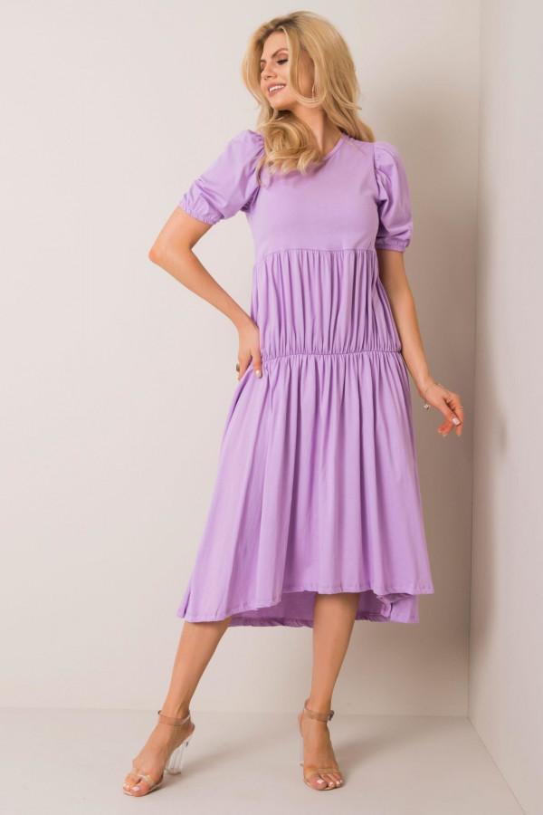 Fioletowa sukienka z falbankami midi Everett