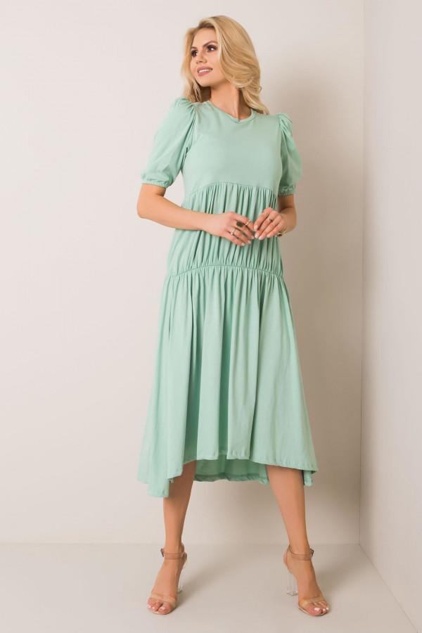 Zielona sukienka z falbankami midi Everett