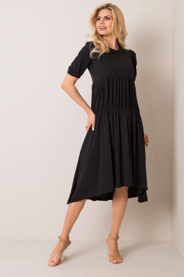 Czarna sukienka z falbankami midi Everett