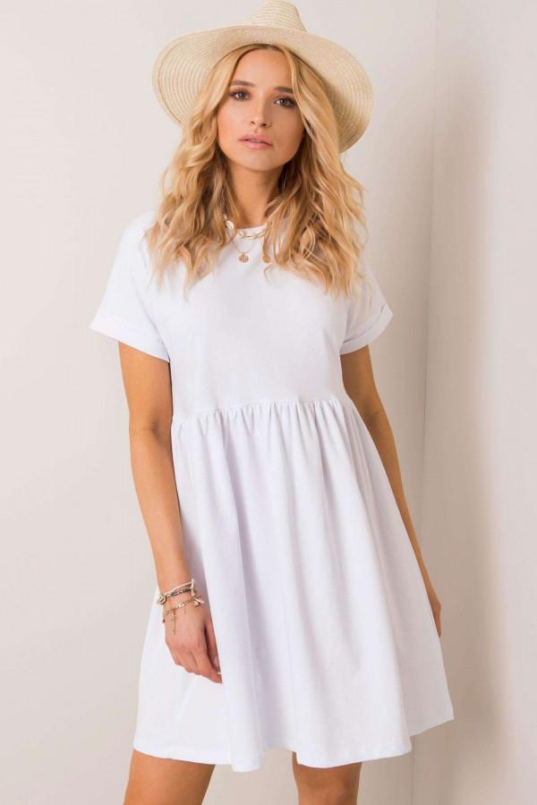 Biała sukienka rozkloszowana O-Neck Peoria