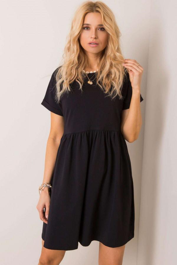 Czarna sukienka rozkloszowana O-Neck Peoria