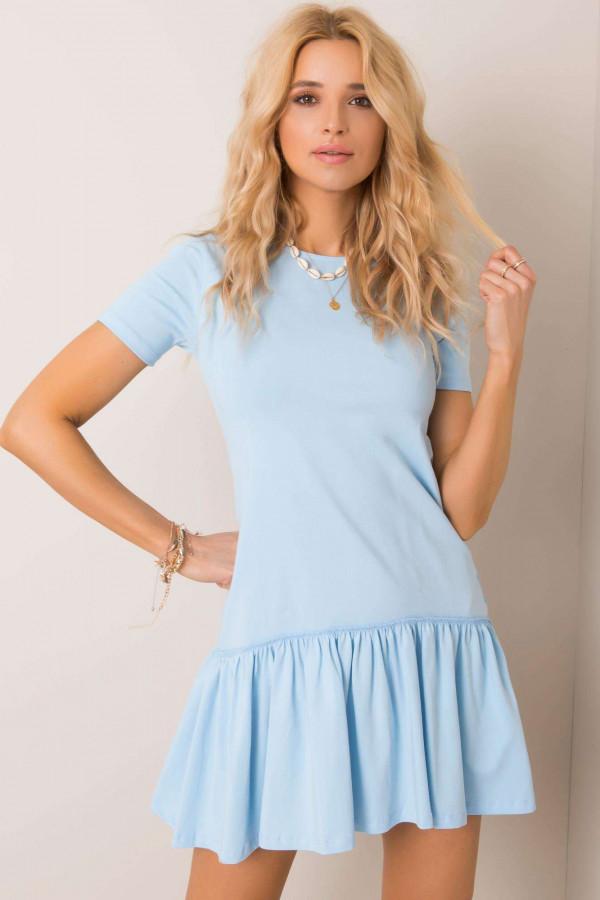Jasnoniebieska sukienka z falbanką Tulsa