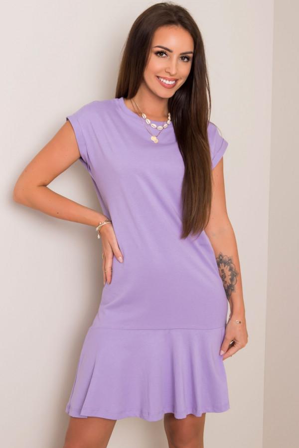 Fioletowa sukienka bawełniana z falbanką Josan