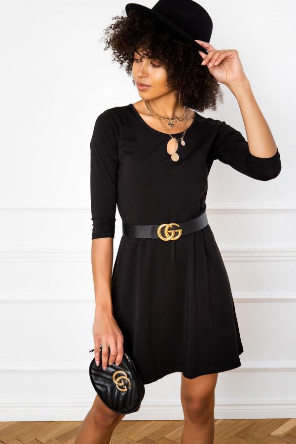 Czarna sukienka rozkloszowana z ozdobnym dekoltem Phoenix