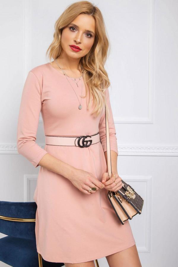 Różowa sukienka rozkloszowana z wycięciem na plecach Edison