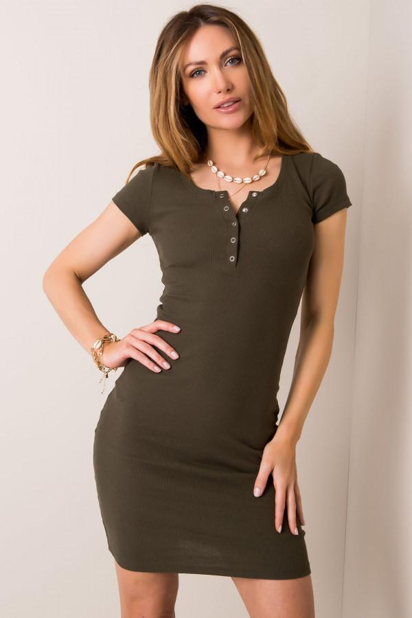 Khaki dopasowana sukienka z krótkim rękawem Ally