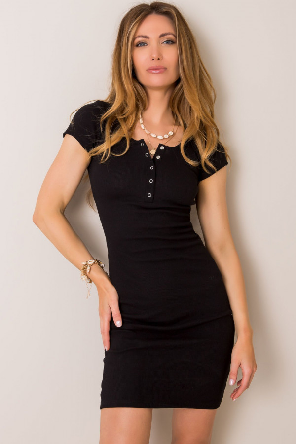 Czarna dopasowana sukienka z krótkim rękawem Ally