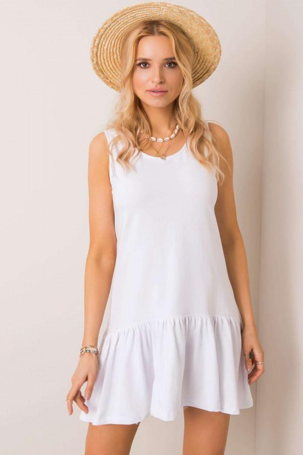 Biała sukienka bez rękawów z falbanką Saint