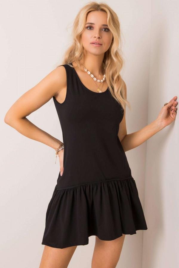 Czarna sukienka bez rękawów z falbanką Saint
