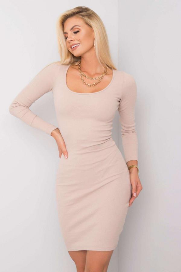 Jasnobeżowa dopasowana sukienka O-Neck Acera