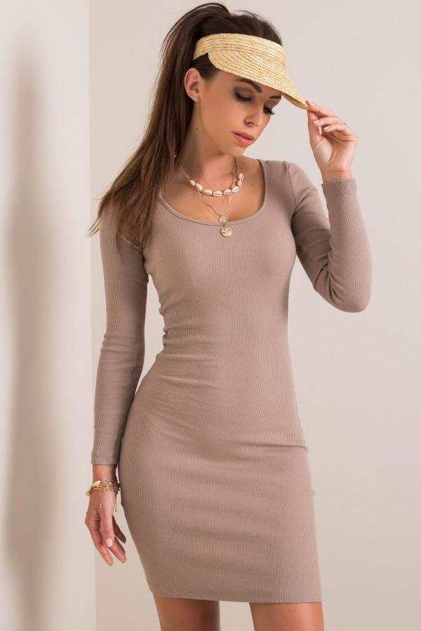 Ciemnobeżowa dopasowana sukienka O-Neck Acera