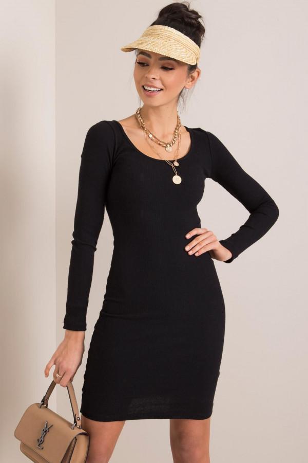 Czarna dopasowana sukienka O-Neck Acera