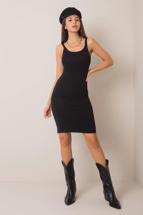 Czarna dopasowana sukienka na ramiączkach Dhalia