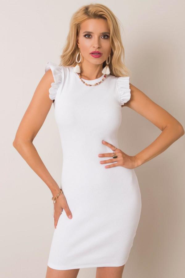Biała dopasowana sukienka z falbankami na rękawach Biella