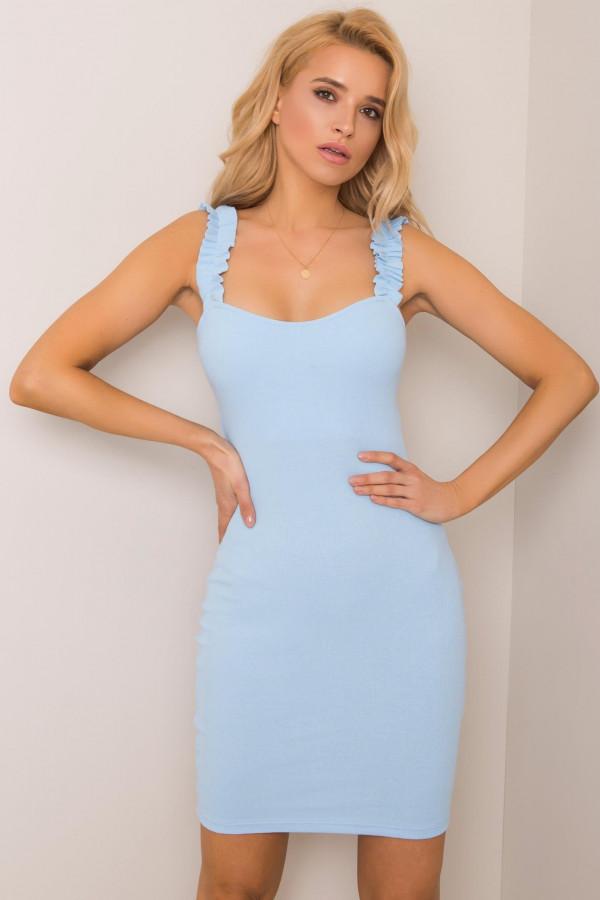 Jasnoniebieska dopasowana sukienka z falbankami na ramiączkach Firenze