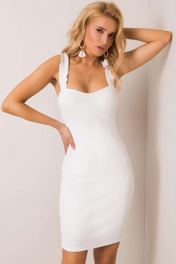 Ecru dopasowana sukienka z falbankami na ramiączkach Firenze