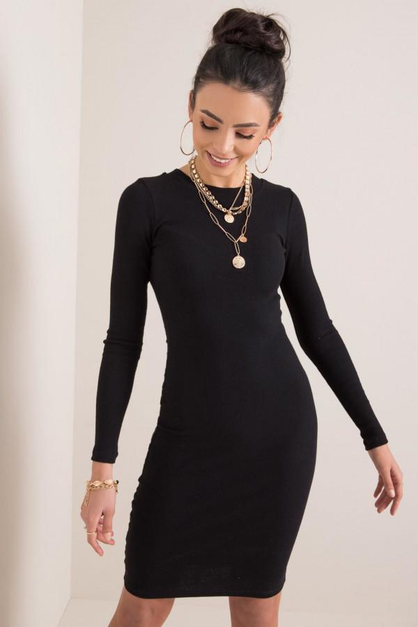 Czarna dopasowana sukienka O-Neck Lisburn